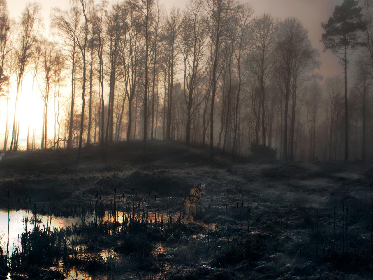 Download wallpaper fire, horror, game, forest, soldier, fog