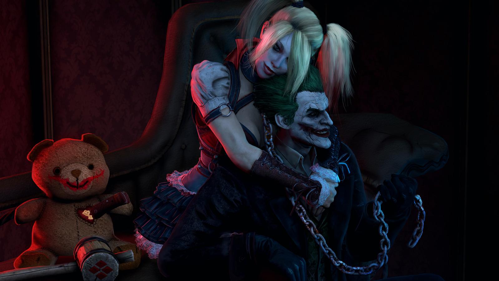Download Wallpaper Chain Villain Joker Harley Quinn Dc Comics