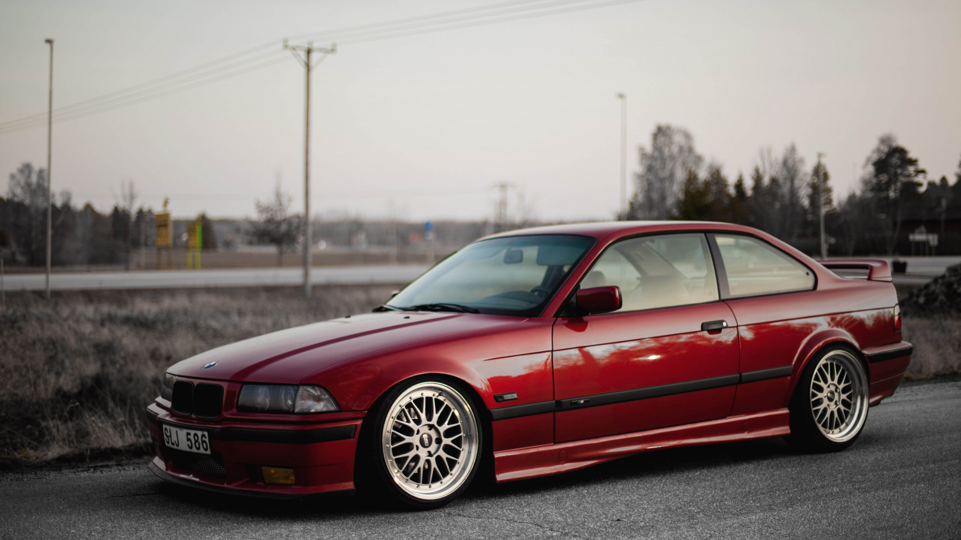 Download Wallpaper Road Red Bmw Bmw Red Oldschool 3 Series E36 Stance Section Bmw In Resolution 1920x1080