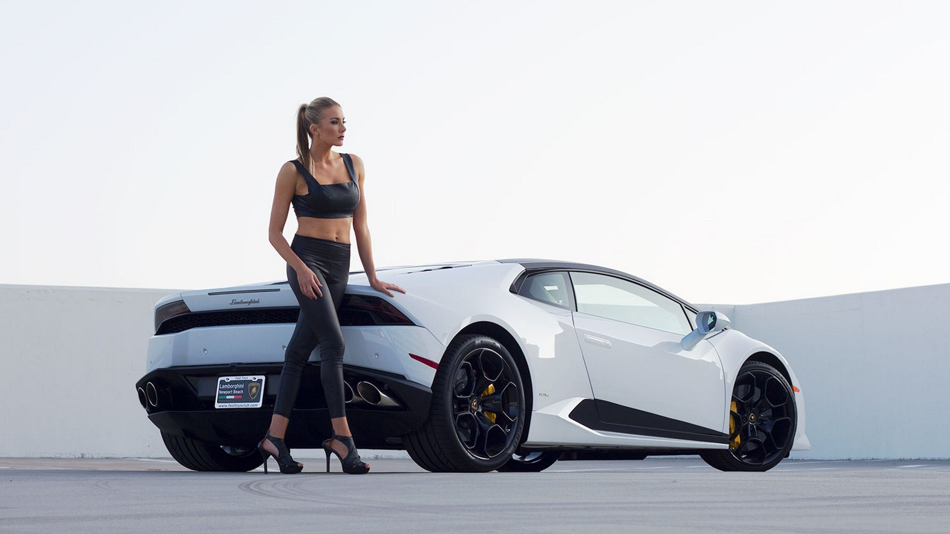 Download Wallpaper Girl Girls Lamborghini Hairstyle Blonde Heels White Car Section Girls In Resolution 1920x1080