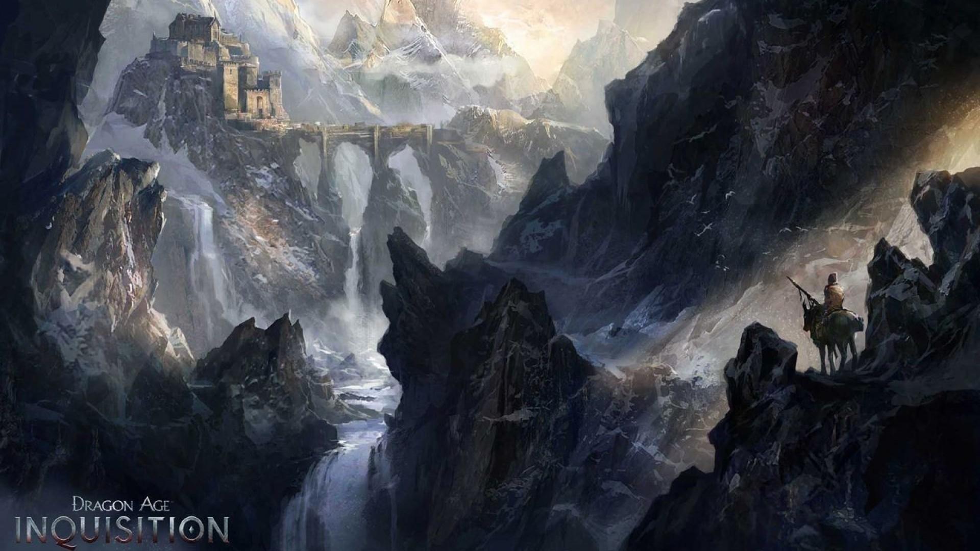 Download Wallpaper Mountains Bridge The City River Castle