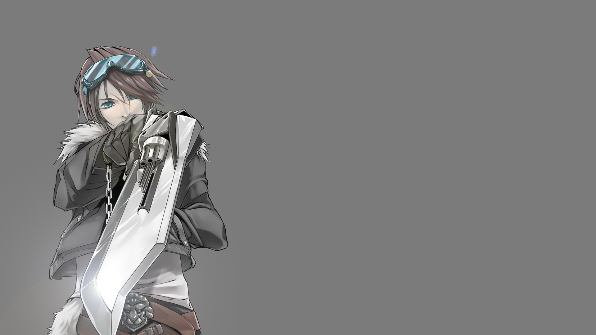 Download Wallpaper Minimalism Grey Background Squall Leonhart