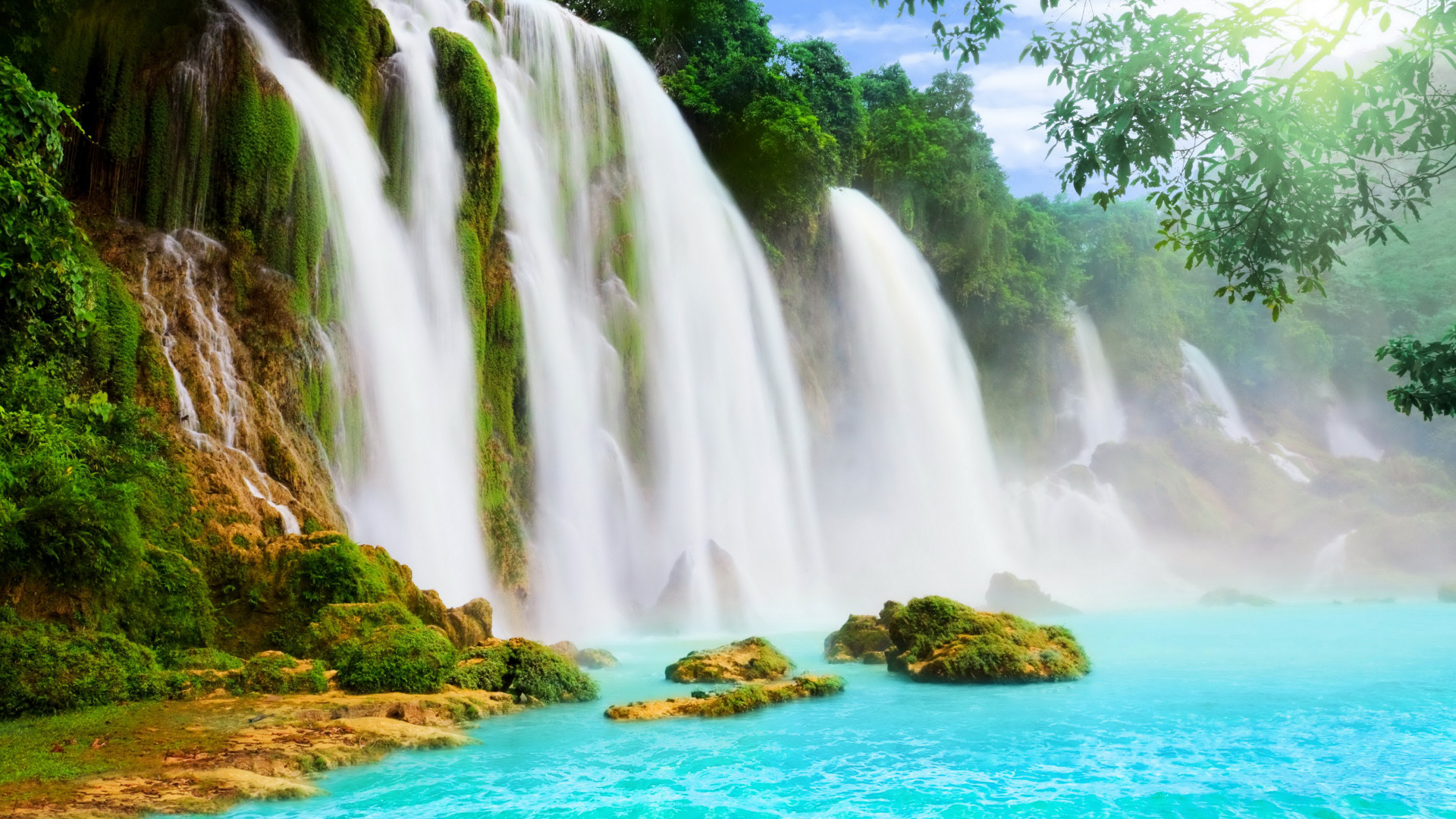 природа водопад деревья радуга  № 70442 загрузить