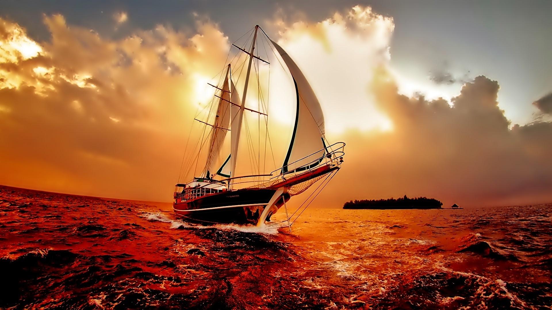 корабли на закате  № 3504063 бесплатно