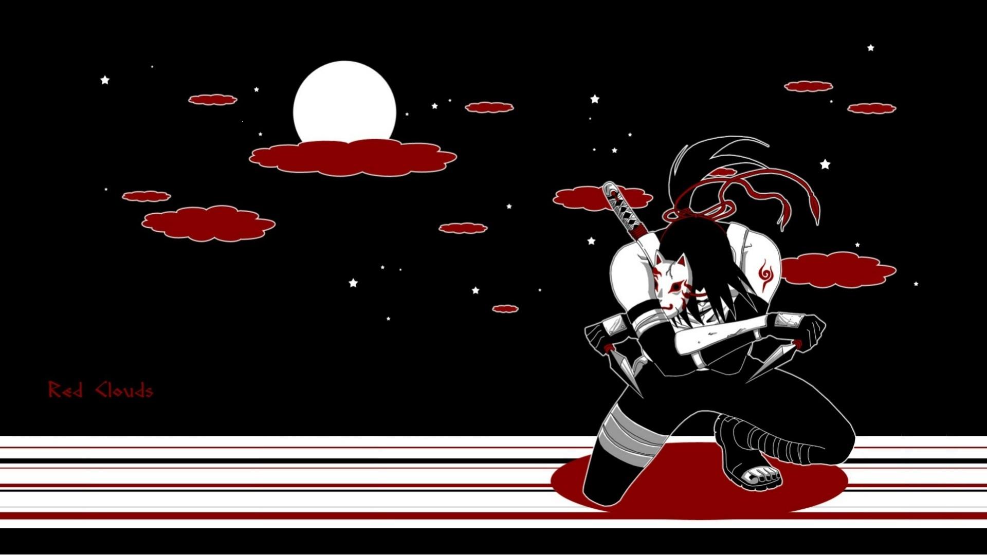 Download Wallpaper Night Loneliness The Full Moon Naruto Bandages Mercenary Itachi Uchiha Naruto Shippuden Demon Mask Kunai Anbu Bloody Clouds Section Shonen In Resolution 1920x1080