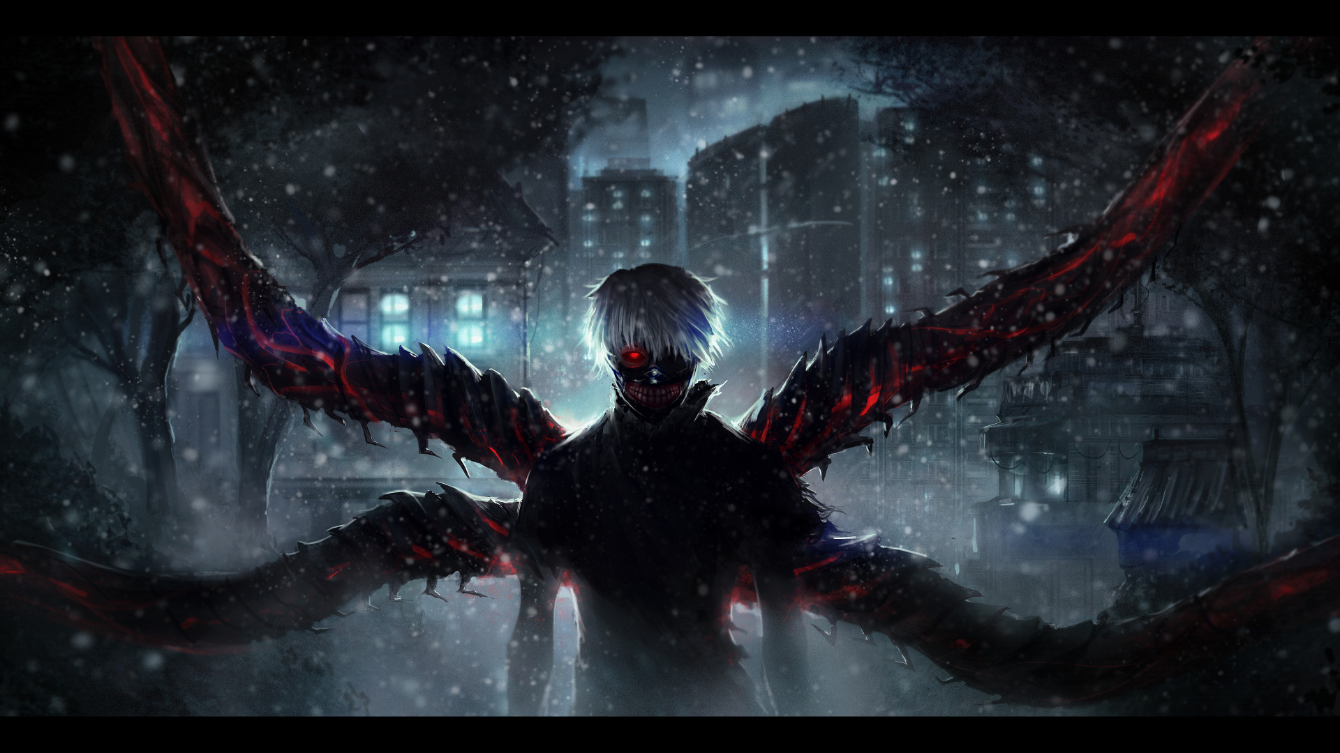 Download Wallpaper Night Darkness Anime Art Guy White