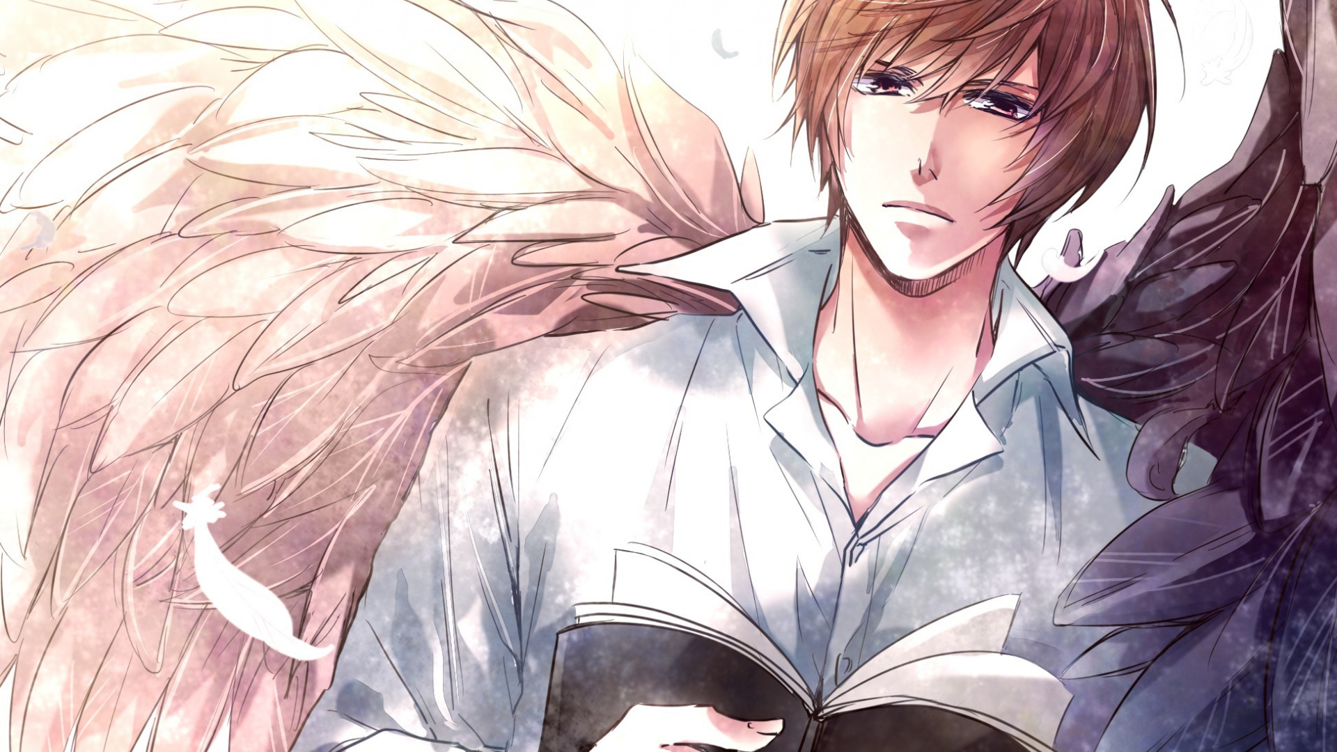 Download Wallpaper Angel Anime Art Book Guy Death Note Light