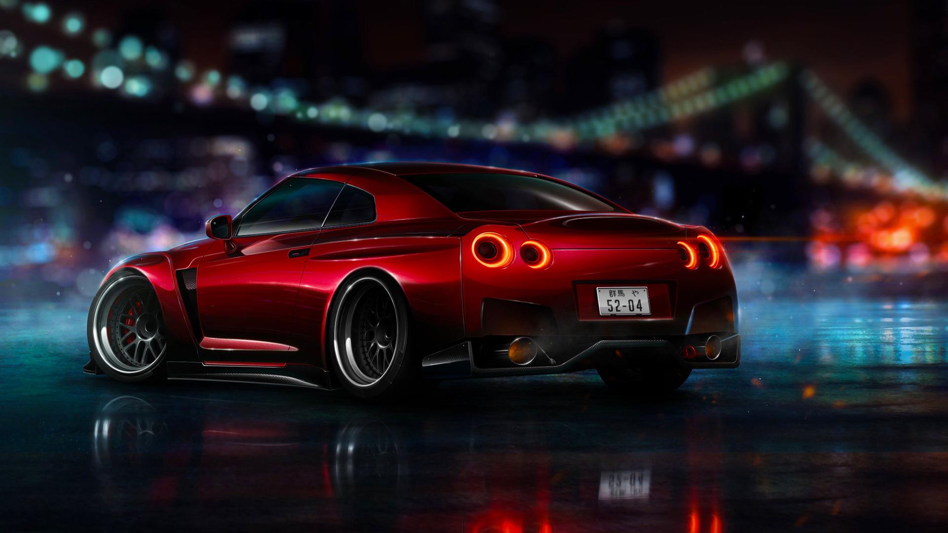 оранжевые спортивный автомобиль Nissan Skyline GTR R35  № 613332 бесплатно
