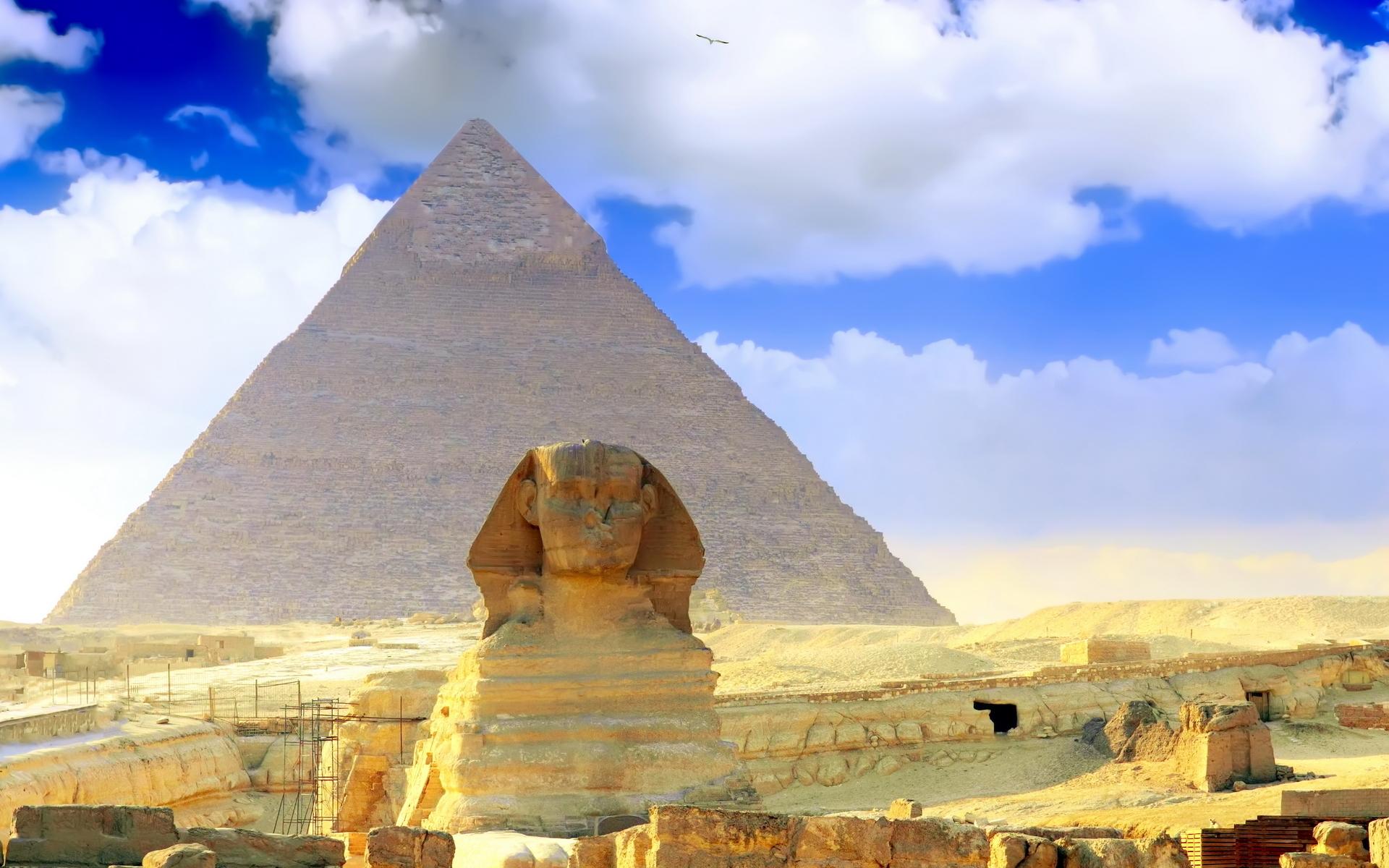 Great Sphinx, Chephren Pyramid, Giza, Egypt  № 2245313 бесплатно