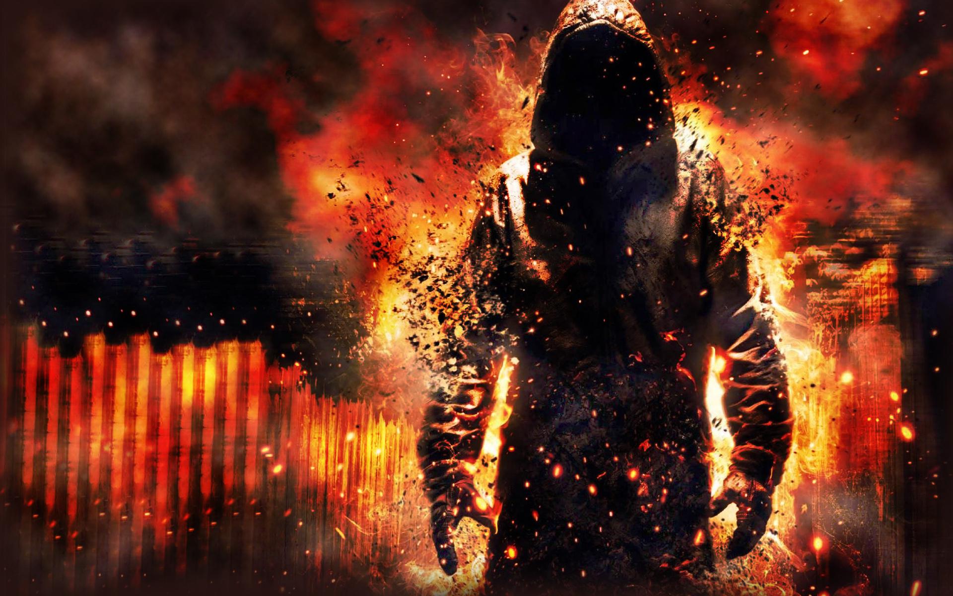 Мжчина с окровавленным мечем в огне  № 1840829 без смс