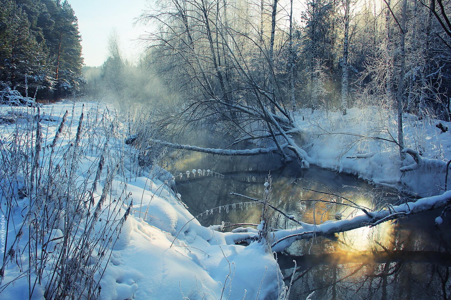 речка мороз зима the river frost winter  № 456282  скачать