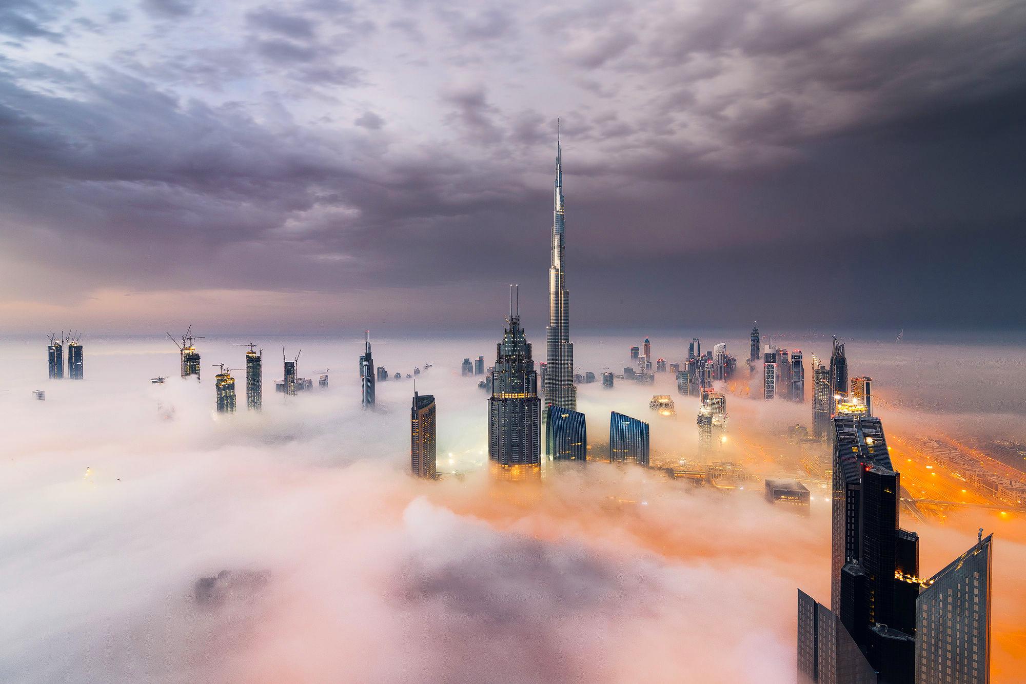 страны архитектура небоскреб рассвет Дубаи объединенные арабские эмираты  № 2209933 бесплатно