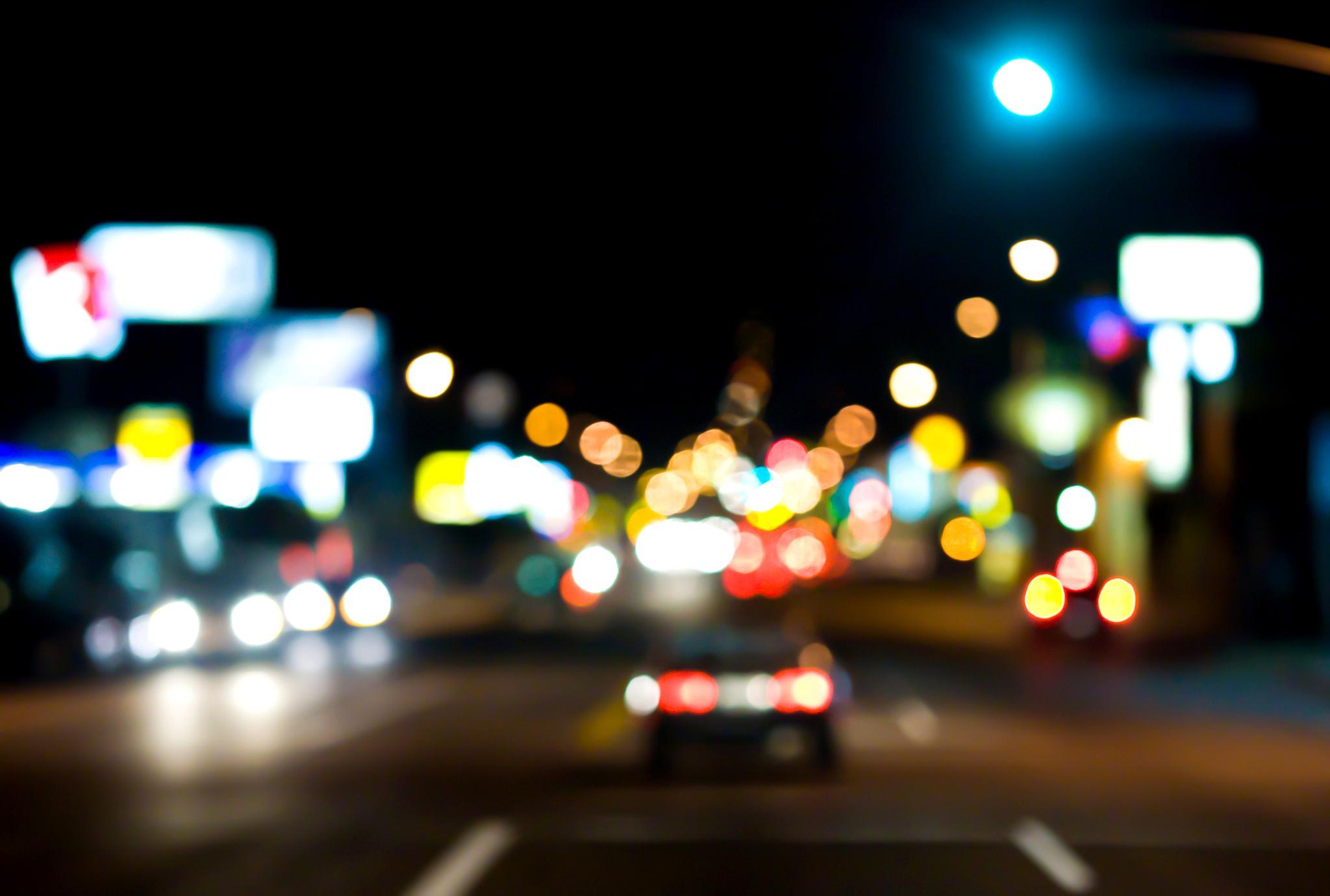 Download Wallpaper Lights Bokeh Street Night Road Machine The