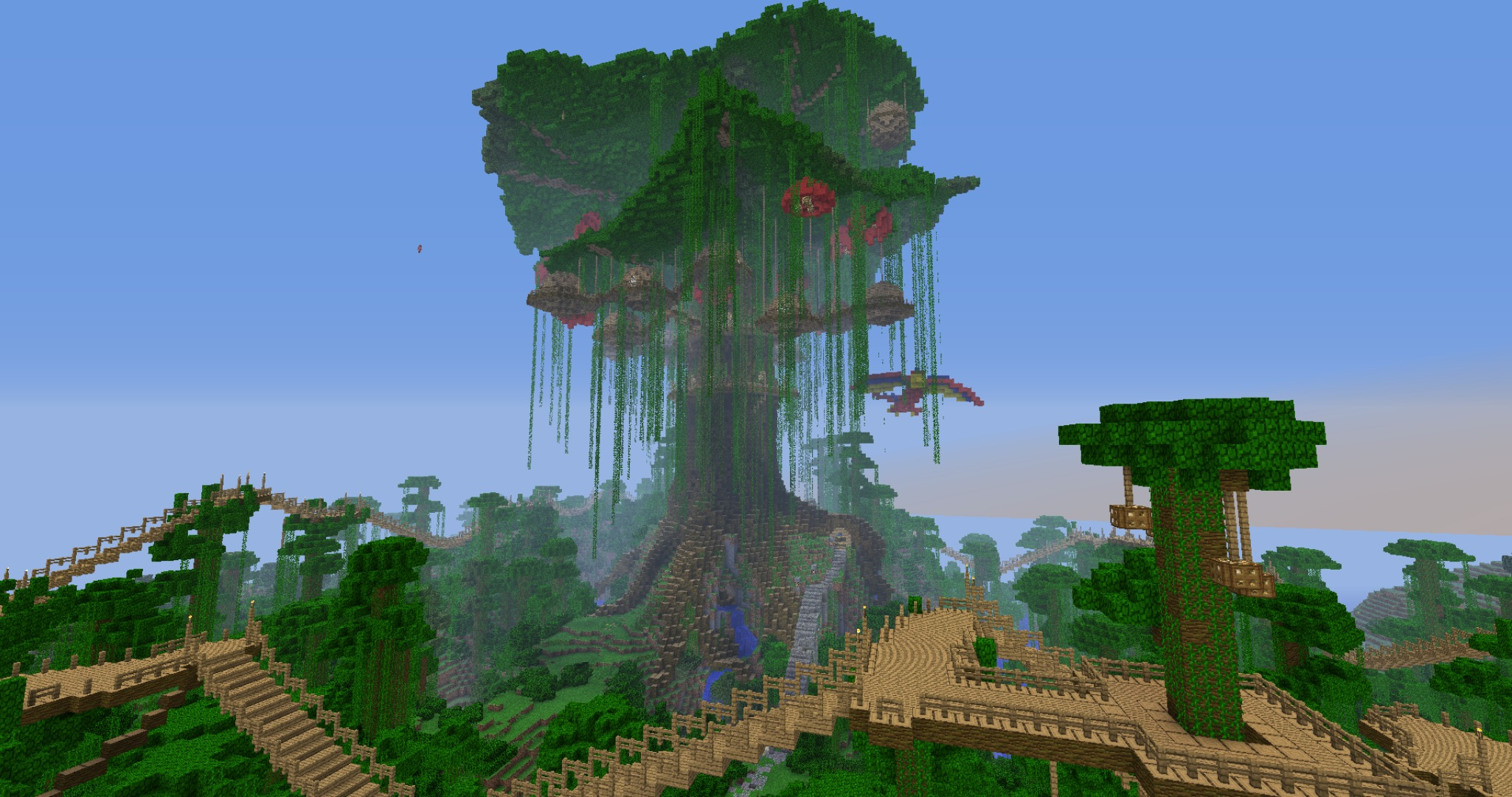 Download Wallpaper Forest The Sky Bridge House Tree Jungle Jungle Minecraft Treehouse Section Games In Resolution 2050x1080