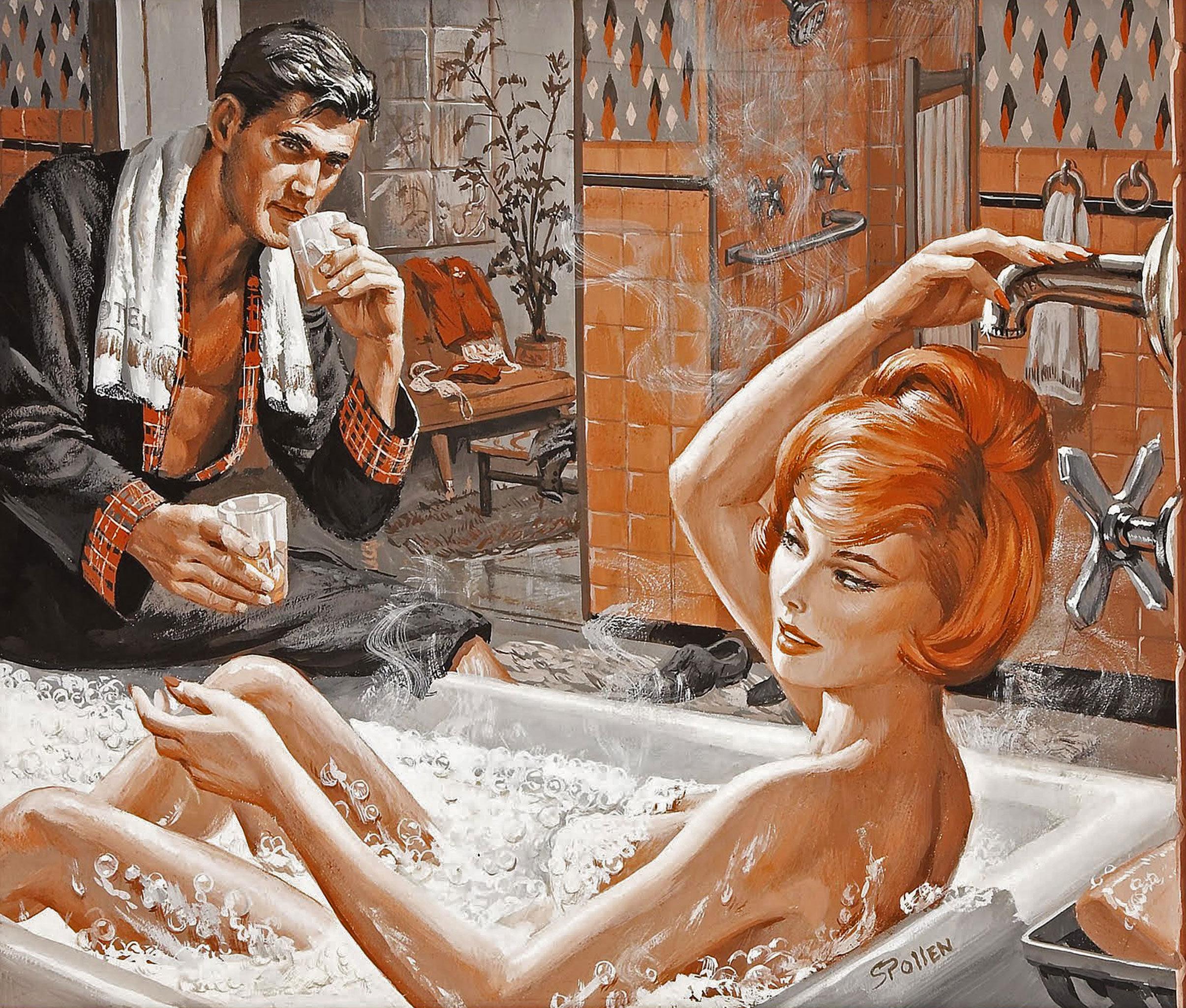 Девушка принимает ванну, попивая шампанское  258288