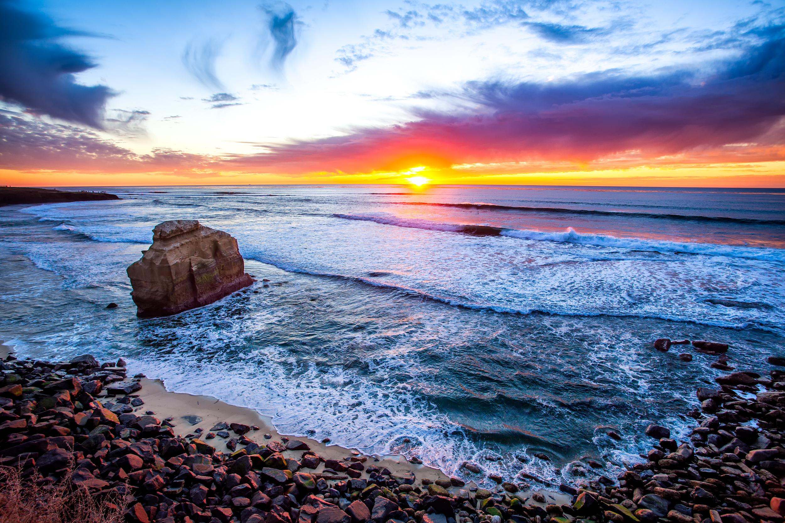 море океан камни скалы закат sea the ocean stones rock sunset  № 2530634 без смс