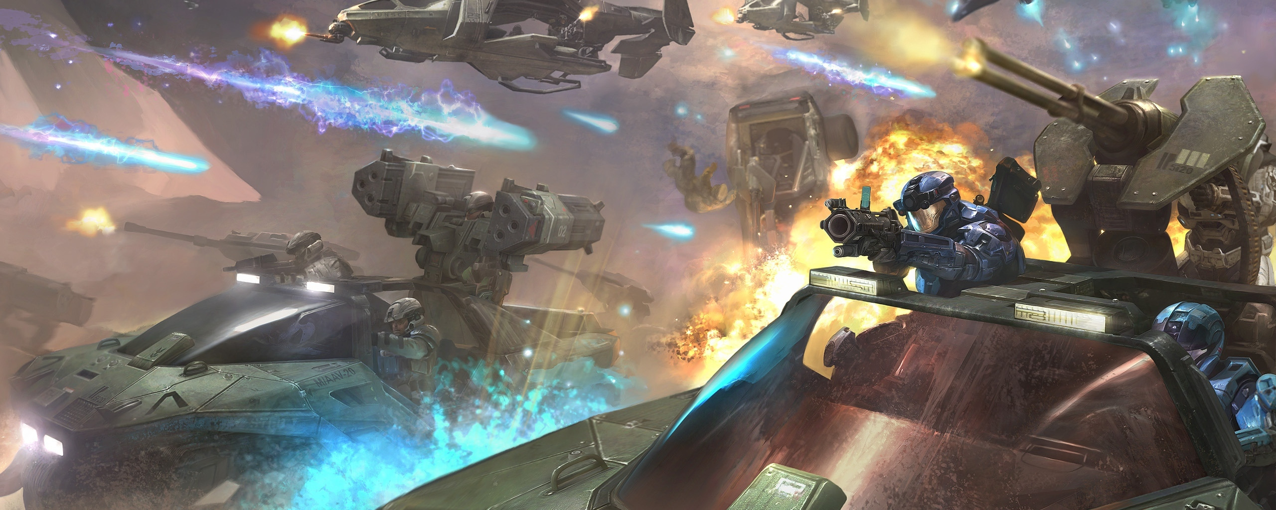 Download wallpaper future, weapons, arrows, explosions
