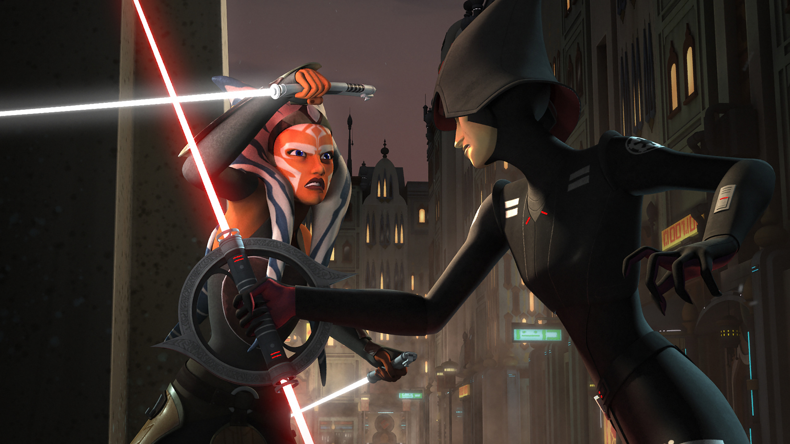 Download Wallpaper Animated Series Star Wars Rebels Star Wars Rebels Ahsoka The Inquisitor 7th Sister Section Films In Resolution 2560x1440