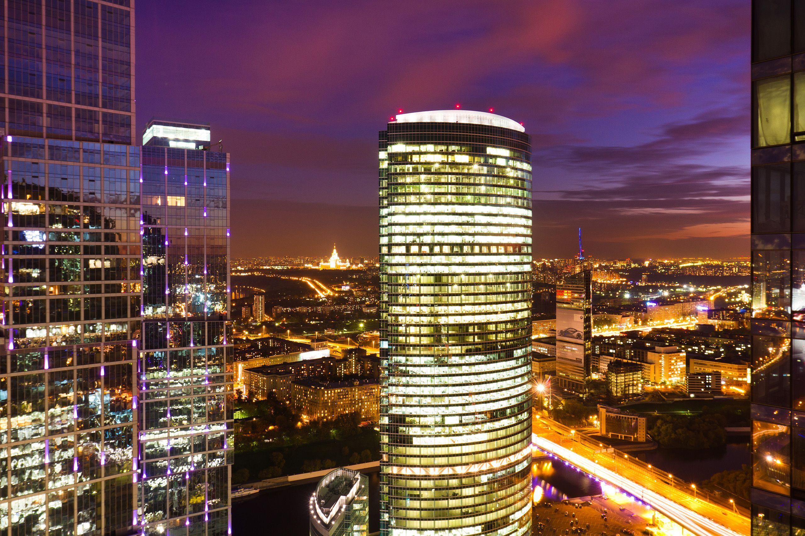 страны город архитектура ночь Москва сити Россия  № 2582875  скачать
