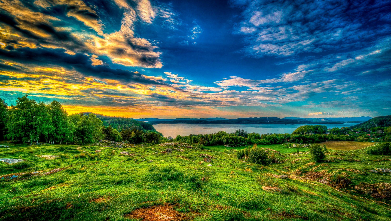 природа озеро деревья небо облака закат  № 1249514  скачать