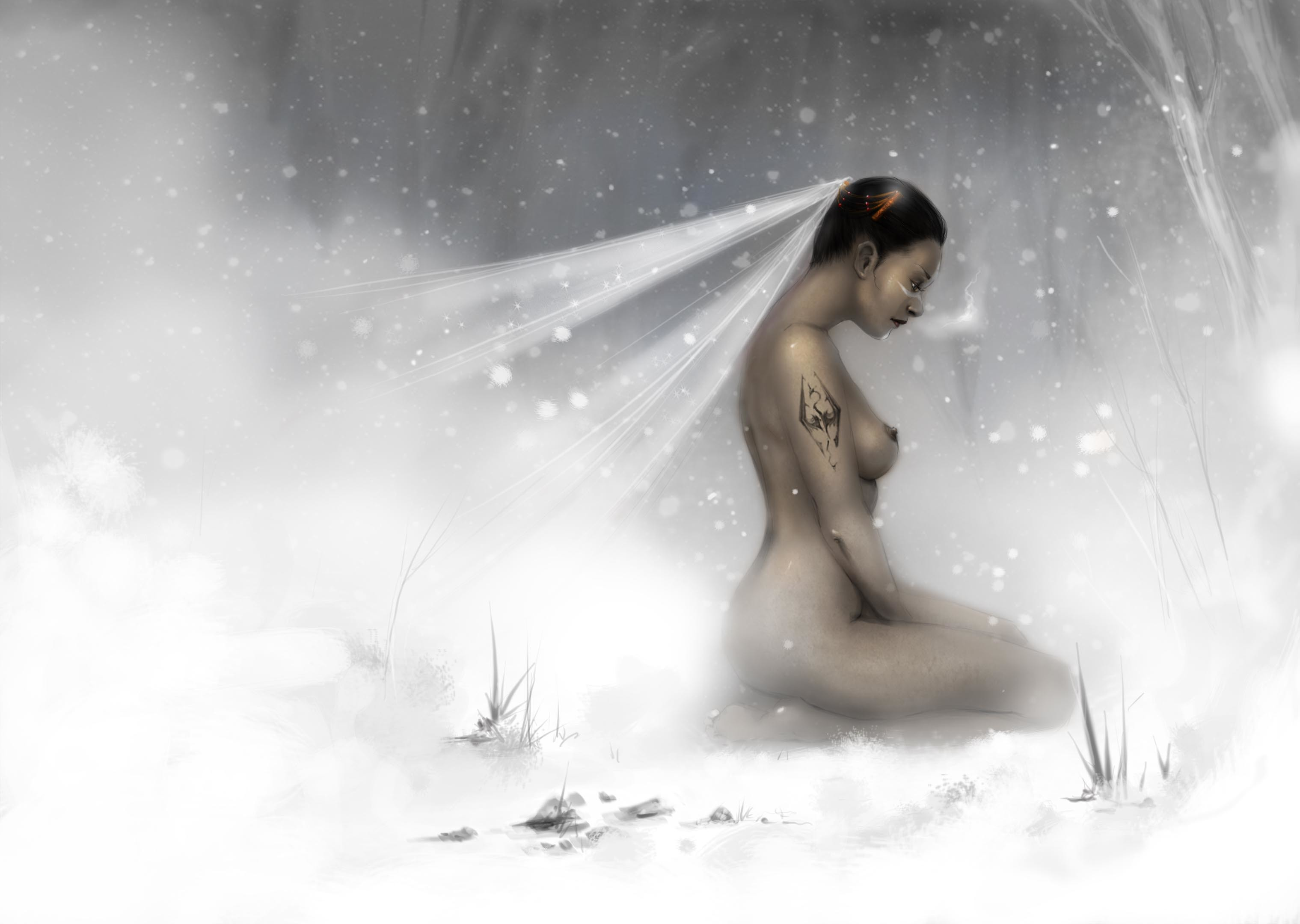 Naked fantasy warrior