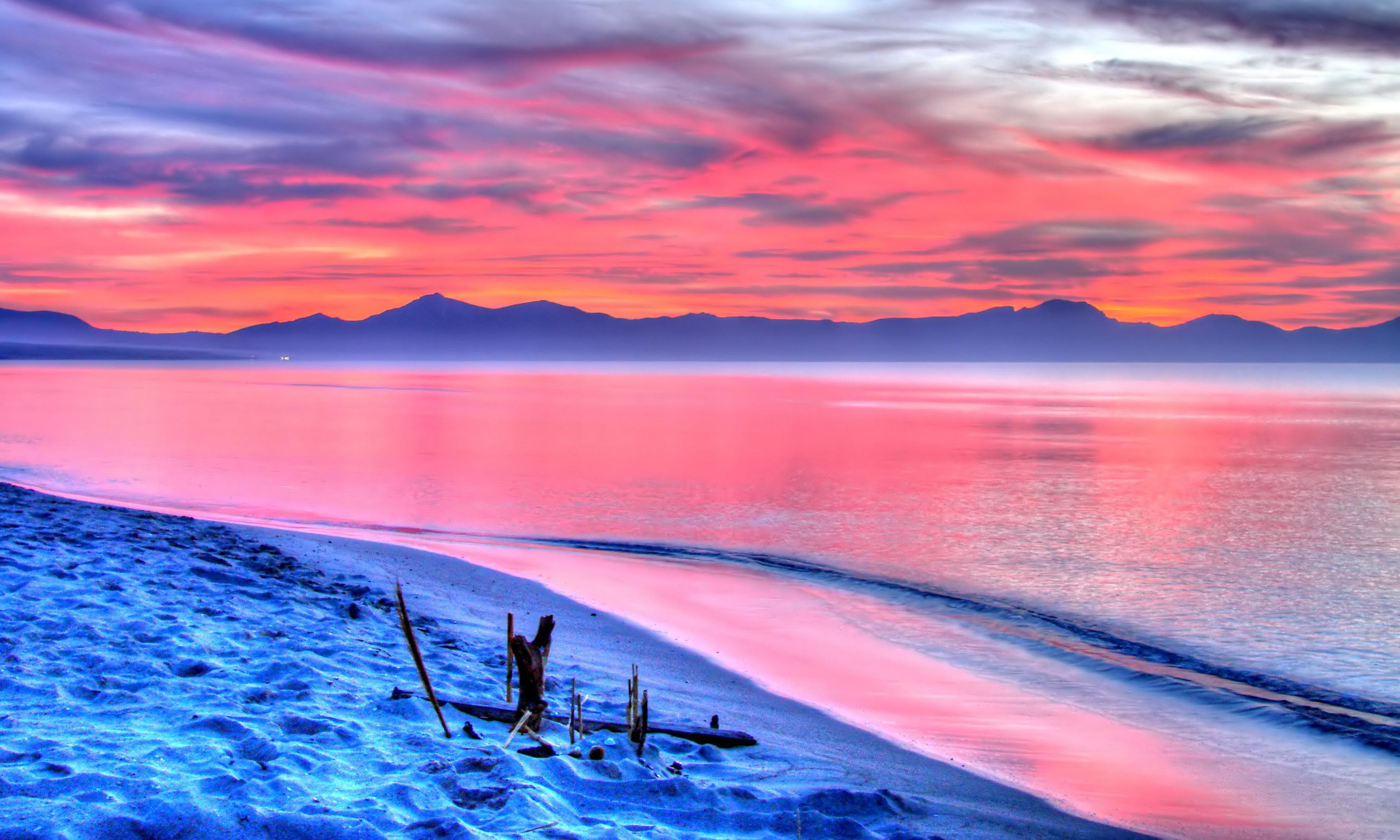 розовый закат, море, горы  № 3110093 без смс