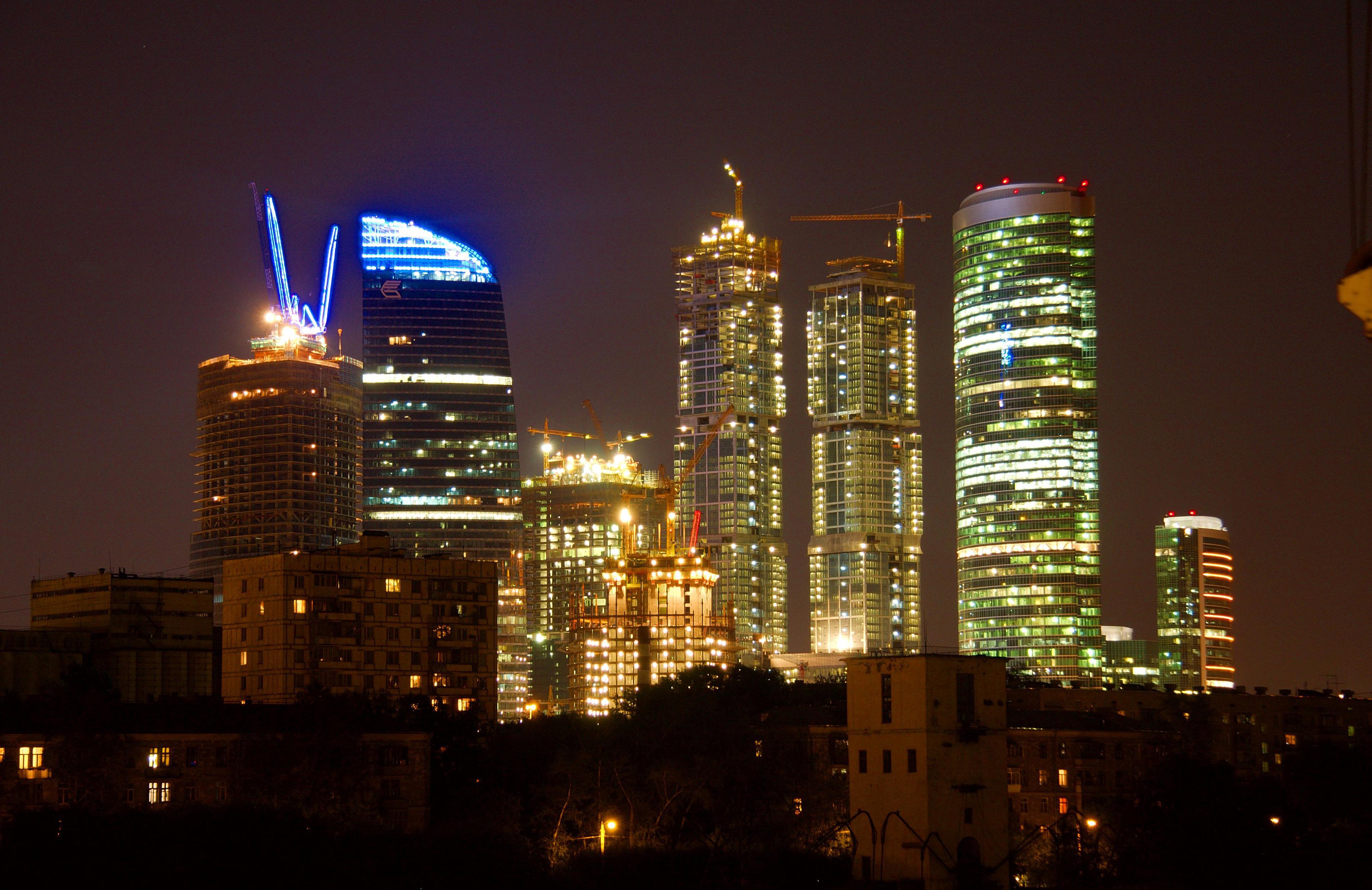 Москва сити ночь архитектура россия Башня на Набережной Город Столиц  № 3716335 без смс