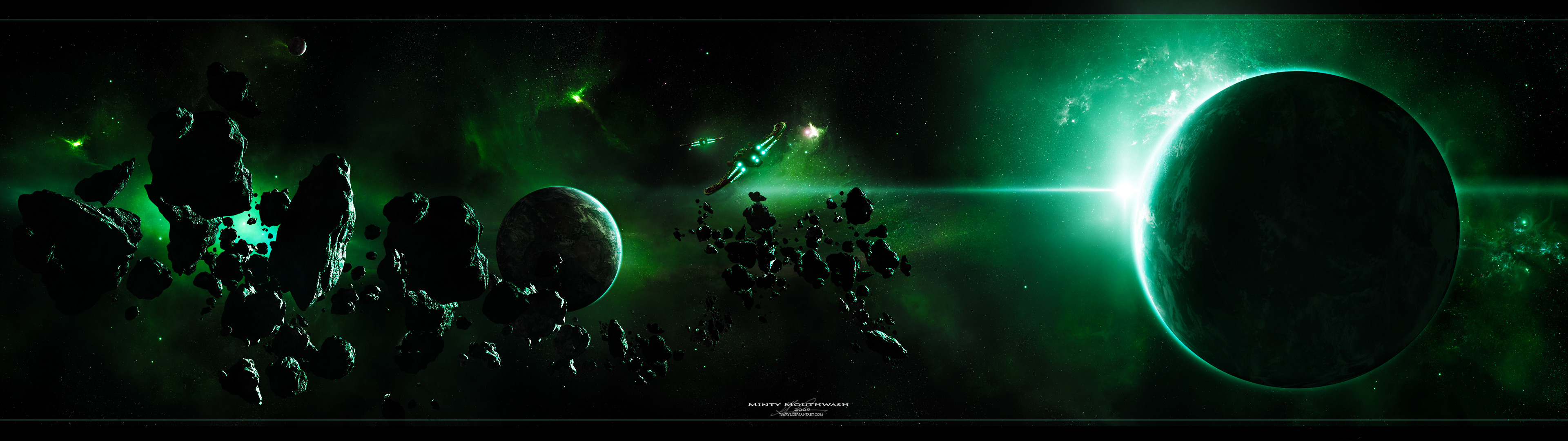 Download Wallpaper Nebula Planet Ships Asteroids Section Space In Resolution 3840x1080