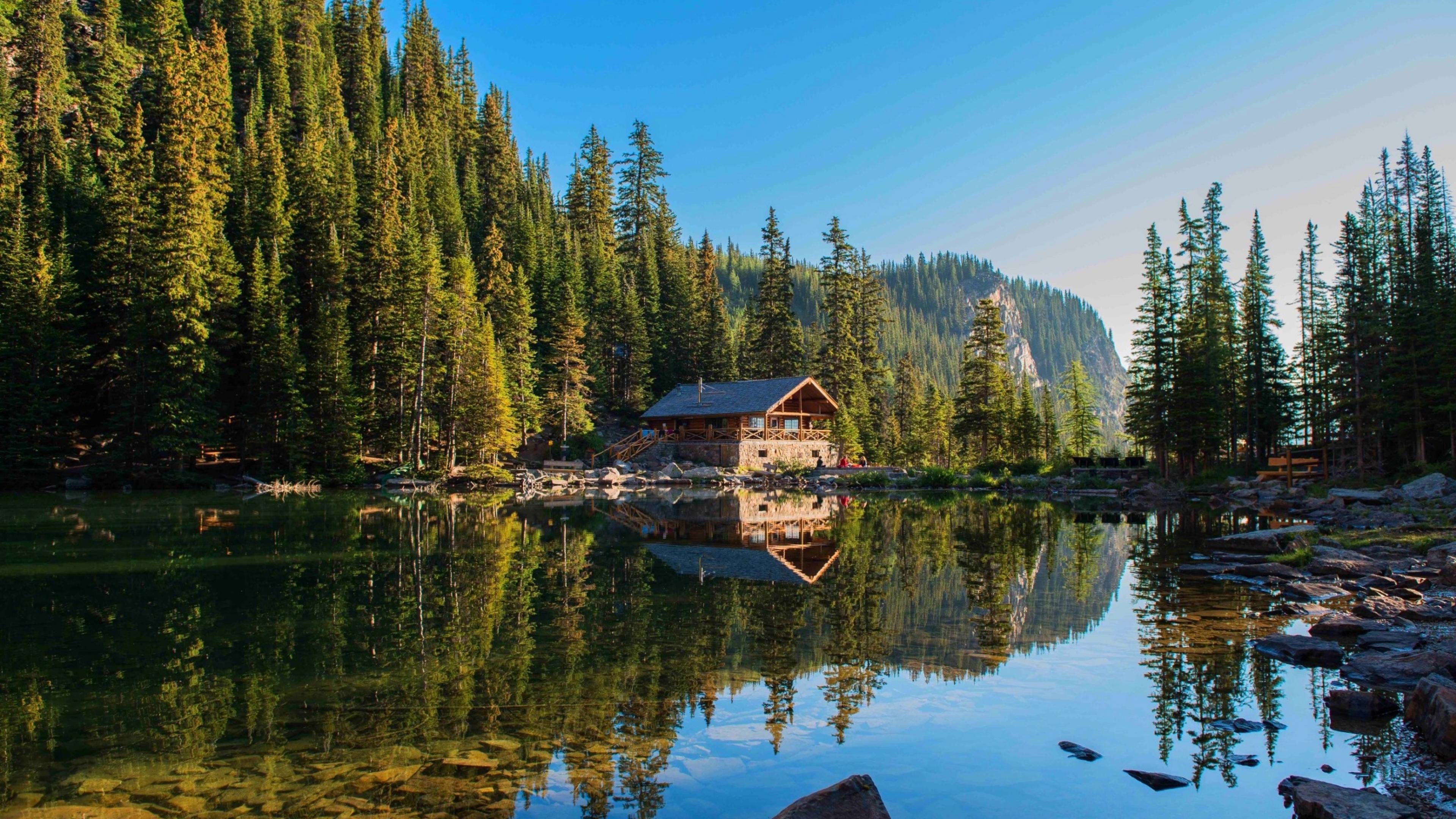 природа озеро дом лес деревья  № 2447965  скачать