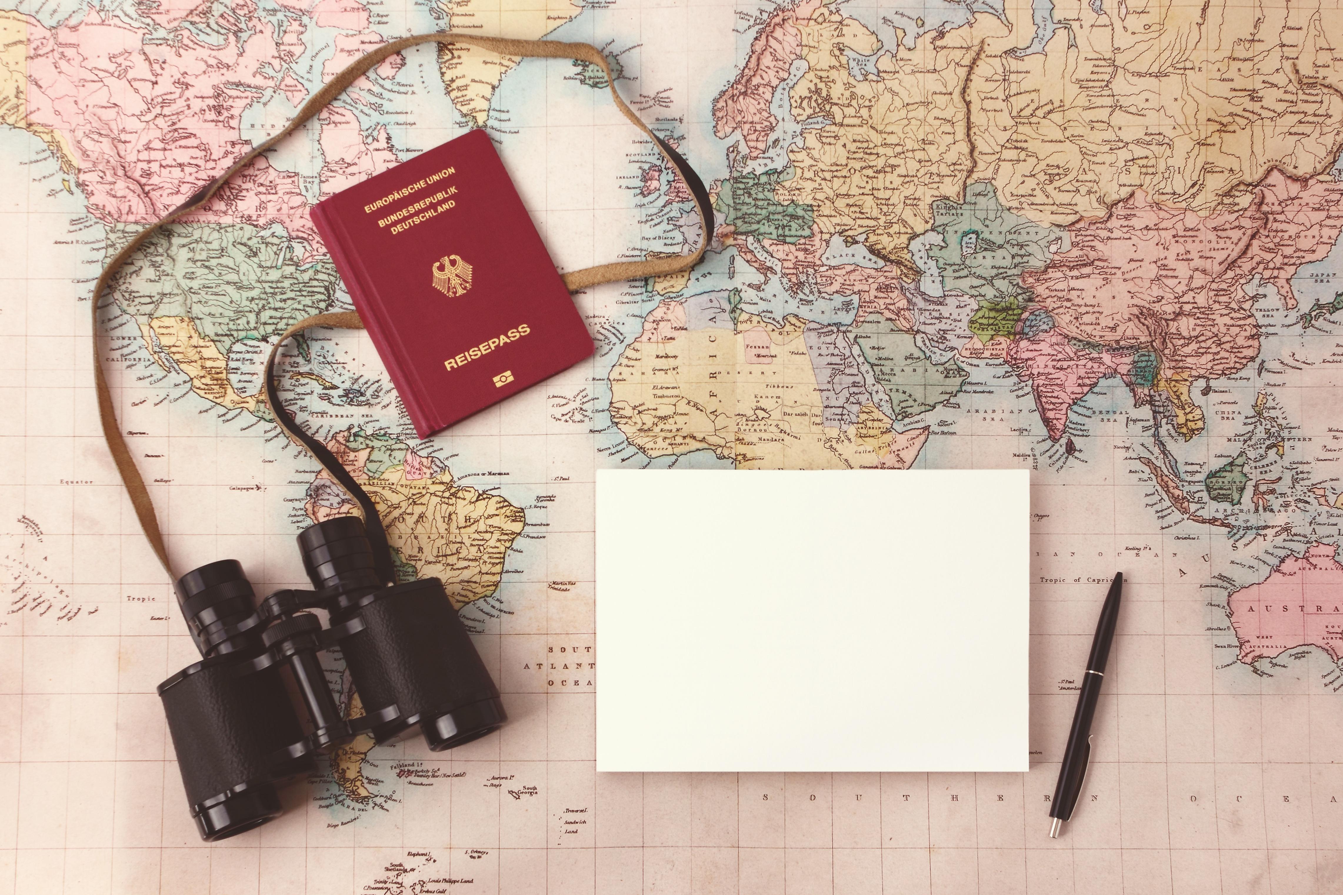 Download Wallpaper Map Paper Pen Binoculars Plans Travel - Us travel planning map
