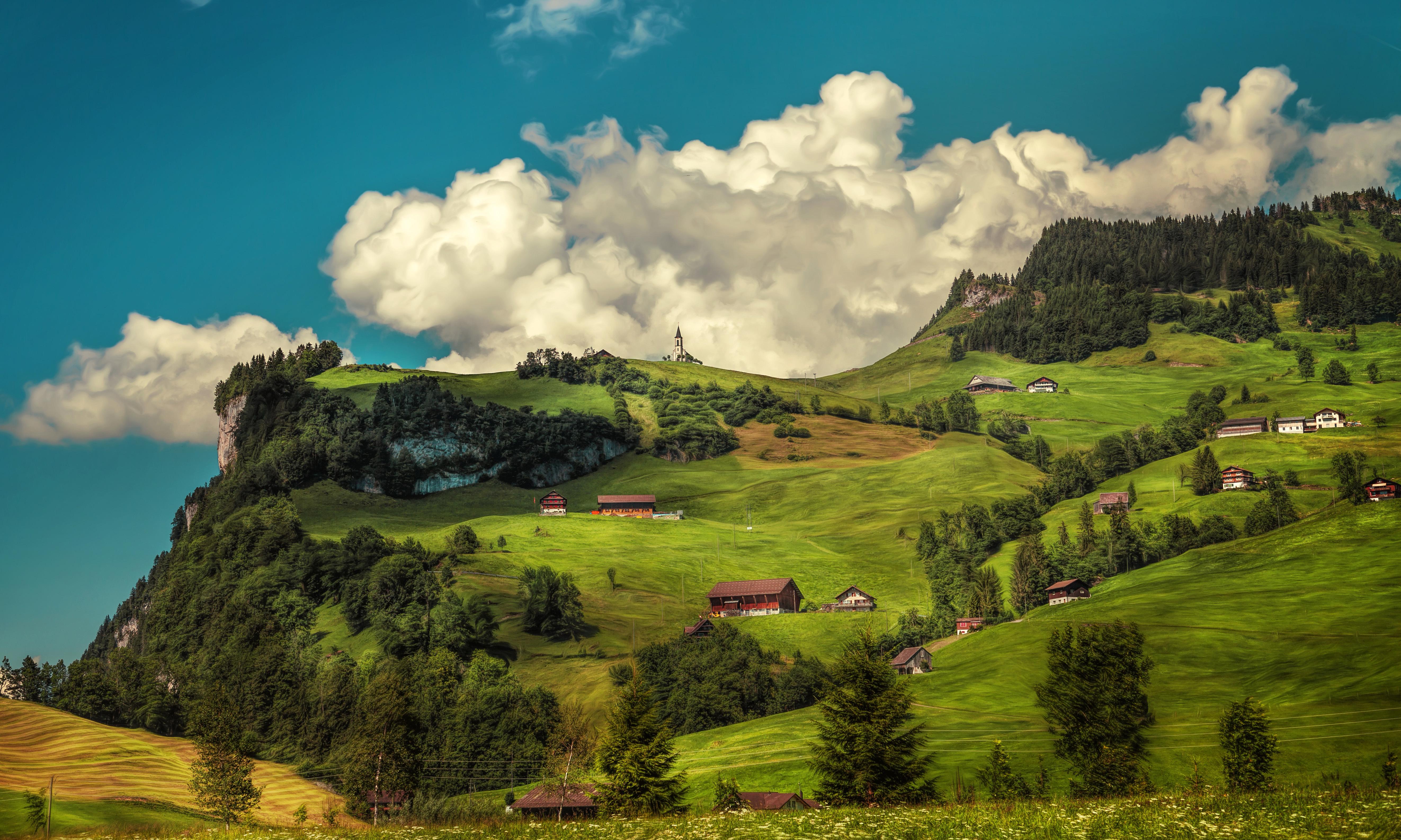 Швейцария Горы река деревья трава  № 183980 бесплатно