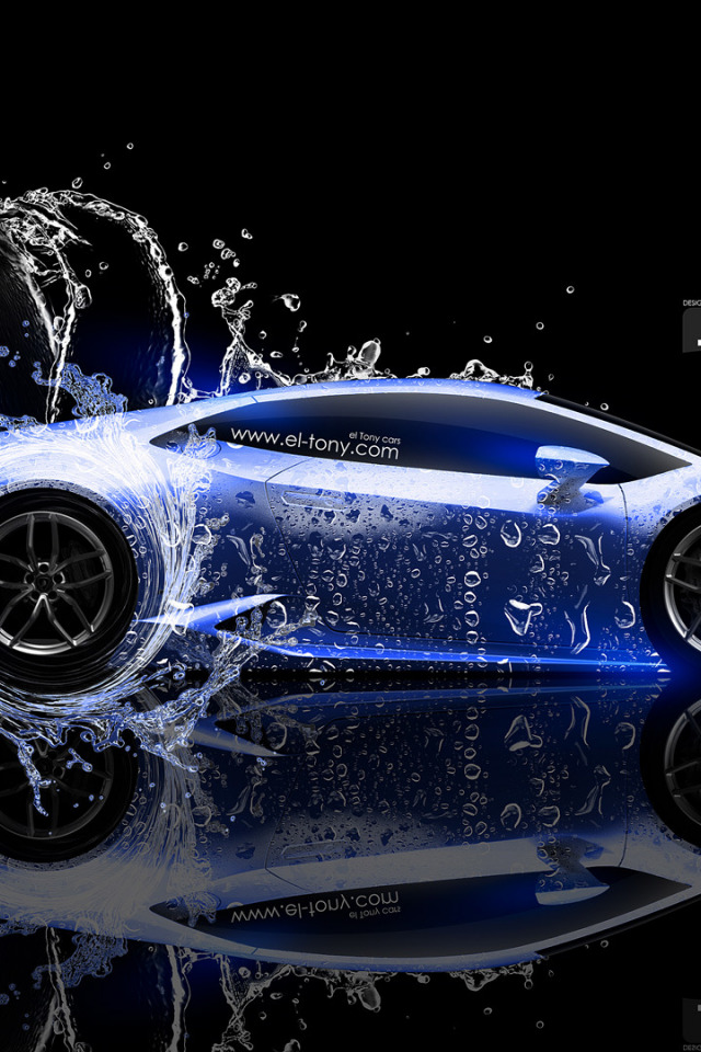 Download Wallpaper Water Black Blue Lamborghini Neon Style