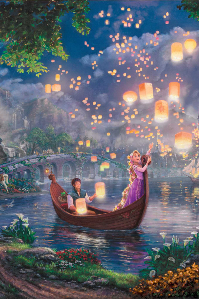 Download Wallpaper Flowers Night Bridge Lights Lake Castle Boat Tale Sail Painting Lanterns Princess Palace Tangled Pascal Maximus Section Painting In Resolution 640x960