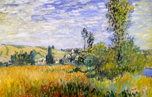 Photo wallpaper Claude Monet, picture, flowers, Landscape at Vétheuil, tree