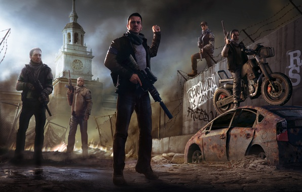 Picture the city, weapons, tower, motorcycle, soldiers, revolution, Homefront: The Revolution