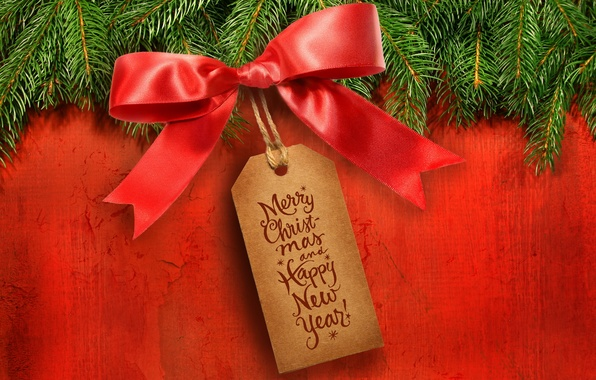 Picture branches, red, background, holiday, plate, tree, new year, spruce, bow, happy new year, congratulations, tag, …