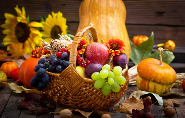 Photo Wallpaper Flowers Grapes Apples Autumn Sunflower Pumpkin