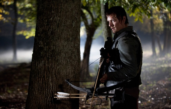 Picture forest, zombies, zombie, the series, actor, crossbow, serial, The Walking Dead, The walking dead, Norman …