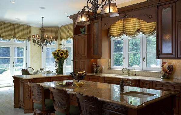 Picture sunflowers, house, style, table, furniture, interior, kitchen, headsets