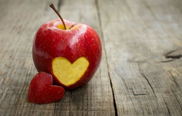 Picture background, red, Wallpaper, mood, heart, apple, Apple, fruit, wallpaper, love, heart, heart, widescreen, background, full ...