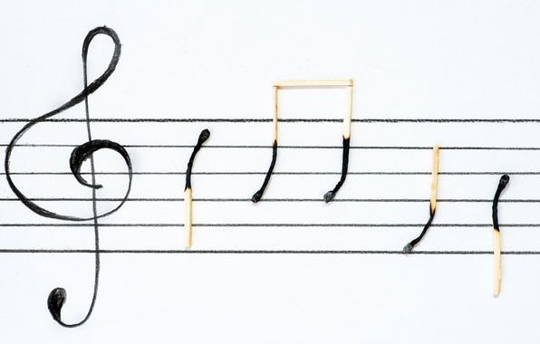 Picture notes, matches, signs, treble clef, stave