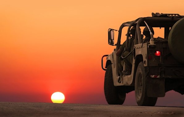 Picture road, machine, war, landscapes, horizon, fighters, sunset