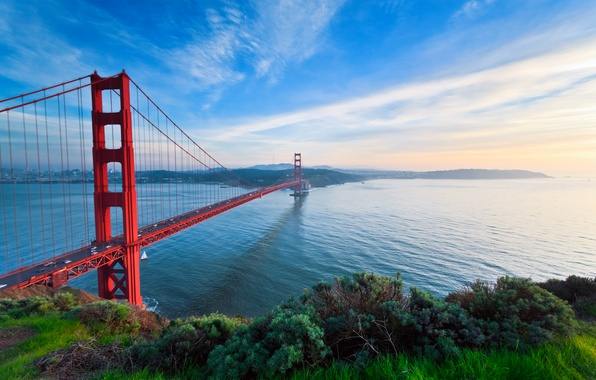 Picture road, the sky, grass, water, machine, bridge, the city, highway, CA, Bay, San Francisco, Golden …