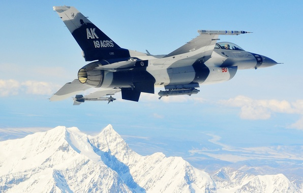 "Picture mountains, fighter, flight, F-16, Fighting Falcon, multipurpose, ""Fighting Falcon"""