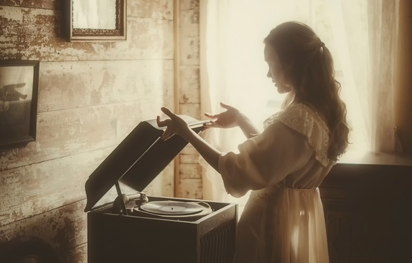 Picture girl, player, record, vintage