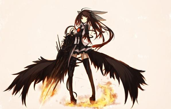 Picture girl, weapons, wings, anime, art, touhou, shirogane usagi, Reiu Equipment, Utsuho