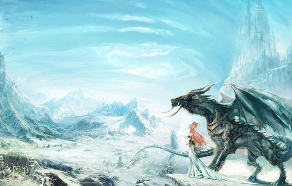 Picture girl, snow, castle, rocks, dragon, village, art, red, yangqi