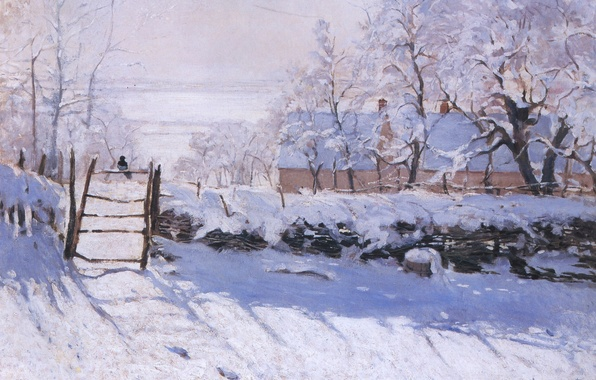 Picture winter, snow, landscape, bird, picture, Claude Monet, Forty, The Walk