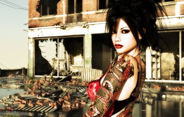Picture girl, dragon, makeup, tattoo, hairstyle, destroyed building