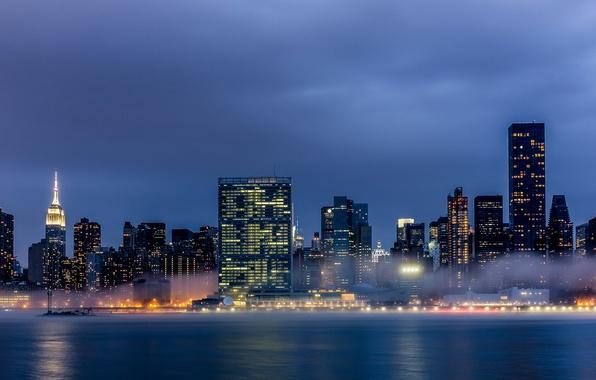 Picture the city, lights, fog, building, New York, skyscrapers, the evening, USA, Manhattan, New York, Manhattan, …